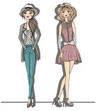 Young fashion girls illustration. Vector illustrat Stock Image