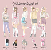 Young fashion girls illustration. Vector illustration Stock Photos