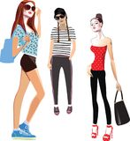 Young fashion girls, vector illustration stylish girls, drawing image for poster, for print Royalty Free Illustration