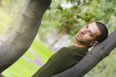 Young fashion guy in external. Man leaning against a tree with her eyes very distracted Stock Images