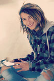 Young fashion guy with tablet Concept of new trends retro nostal Stock Image