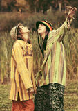 Young fashion hippie couple walking on nature Stock Image