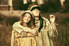 Young fashion hippie couple walking outdoor Royalty Free Stock Photo