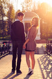 Young fashion Hipster couple in love stock image