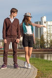 Young fashion Hipster couple in love royalty free stock photo