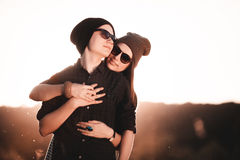 Young fashion hipster couple in love Stock Images