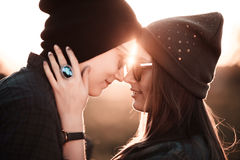 Young fashion hipster couple in love Stock Photos