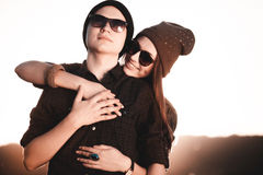 Young fashion hipster couple in love Stock Photo