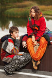 Young fashion hipster couple in love outdoor Stock Photo