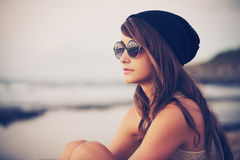 Young Fashion Hipster Woman Stock Image