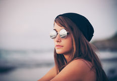Young fashion hipster woman Stock Images