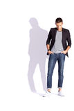 Young fashion man looking down stock photos