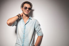 Young fashion man smiling and looking away Stock Photos