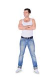 Young fashion man standing over white Stock Photography