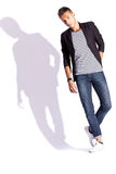 Young fashion man on white background Royalty Free Stock Photography