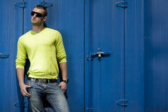 A young fashion model. In  Car park Royalty Free Stock Image