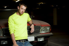 A young fashion model. In  Car park Stock Image