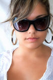 Young fashion model. With sunglasses Royalty Free Stock Images