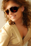 Young fashion model. With sunglasses Royalty Free Stock Photos