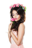 Young Fashion Model Holding Pink Flower. Isolated on White Background. Summer Fashion Royalty Free Stock Image