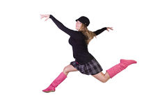 Young  fashion model jumping in mid air Royalty Free Stock Image
