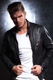 Young fashion model in leather jacket Stock Photo