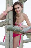 Young fashion model with slim and sexy body posing by a old wood stump Royalty Free Stock Image