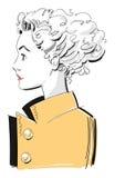 Young Fashion Model Wearing a Yellow Rain Coat Stock Image