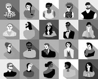Young fashion people icons portrait flat characters set black and white. Stock Images