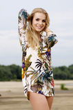 Young fashion pretty woman on the beach Royalty Free Stock Images