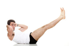 Young fashion sport man fitness muscle model guy exercise isolat Stock Image