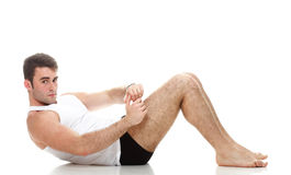 Young fashion sport man fitness muscle model guy exercise isolat Royalty Free Stock Photography