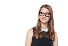 Young fashion teenage girl in glasses looking on something Royalty Free Stock Photos
