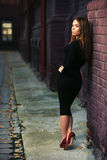 Young fashion woman in black dress at the brick wall Stock Images