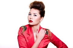 Young fashion woman with bright make-up Stock Images