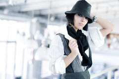 Young fashion woman with hat Stock Photo