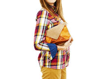 Young fashion woman holding a handbags. Stock Images
