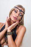 Young fashion woman with indian jewelry Stock Photos