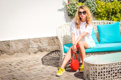 Young Fashion Woman Outdoors Stock Photo
