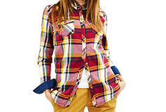 Young fashion woman in plaid shirt Royalty Free Stock Photography