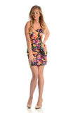 Young Fashion Woman wearing a flower summer dress Royalty Free Stock Photo