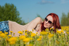 Young fashionable attractive sexy girl in glasses lying on a marguerite-meadow at sunny summer day Stock Image