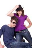 Young fashionable couple posing Stock Photo