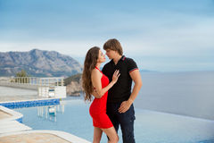 Young fashionable couple. Vacation holidays background. Handsome Stock Images