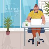 Fashionable designer working in modern office. Young fashionable designer or hipster manager sitting at table and working on white laptop. Interior of modern Royalty Free Stock Photos