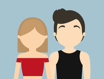 Young fashionable faceless heterosexual couple icon image Royalty Free Stock Photography
