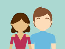 Young fashionable faceless heterosexual couple icon image Royalty Free Stock Photos