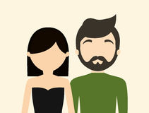 Young fashionable faceless heterosexual couple icon image Royalty Free Stock Photo