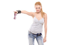 Young fashionable female pointing Royalty Free Stock Images