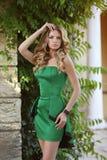Young fashionable girl model in trendy fashion dress. Summer sli Stock Photo